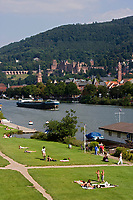 Europe/Allemagne/Bade-Würrtemberg/Heidelberg: La ville, le Château depuis la rive droite du Neckar