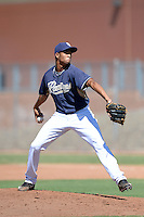 San Diego Padres pitcher Jaimito Lebron (33) during an Instructional League game against the Chicago White Sox on October 3, 2014 at Peoria Stadium Training Complex in Peoria, Arizona.  (Mike Janes/Four Seam Images)