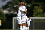 Rebecca Moros (19), of Duke, celebrates her goal at 19:51 with teammate Lauren Tippets (r) on Sunday September 18th, 2005 at Koskinen Stadium in Durham, North Carolina. The Duke University Blue Devils defeated the University of San Diego Toreros 5-0 during the Duke adidas Classic soccer tournament.