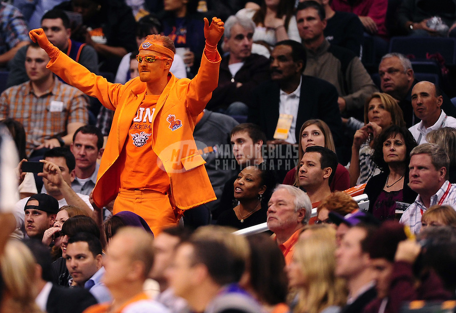 Jan. 28, 2012; Phoenix, AZ, USA; Phoenix Suns fan in the grandstands during game against the Memphis Grizzlies at the US Airways Center. The Suns defeated the Grizzlies 86-84. Mandatory Credit: Mark J. Rebilas-USA TODAY Sports