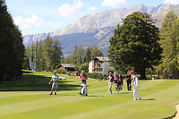 Ashun Wu (CHN) plays his 2nd shot on the 5th hole during Sunday's Final Round 4 of the 2018 Omega European Masters, held at the Golf Club Crans-Sur-Sierre, Crans Montana, Switzerland. 9th September 2018.<br /> Picture: Eoin Clarke | Golffile<br /> <br /> <br /> All photos usage must carry mandatory copyright credit (&copy; Golffile | Eoin Clarke)