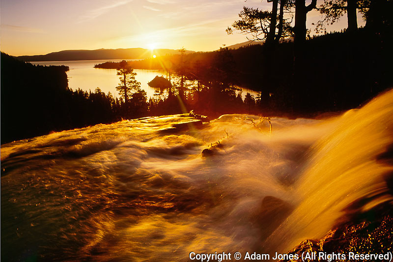 Waterfall at sunrise in Eagle Creek above Emerald Bay,.Lake Tahoe, CA..Waterfall at sunrise in Eagle Creek above Emerald Bay,Lake Tahoe, CA.