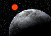 Artist impression of the distant planet Gliese 581 c, found in the habitable zone around the red dwarf Gliese 581, with the instrument HARPS on the ESO 3.6-m telescope.