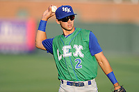 Second baseman Kenny Diekroeger (2) of the Lexington Legends warms up before a game against the Greenville Drive on Friday, August 29, 2014, at Fluor Field at the West End in Greenville, South Carolina. Greenville won, 6-1. (Tom Priddy/Four Seam Images)
