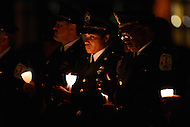 May 13, 2013  (Washington, DC) U.S Park Police officers hold candles  in tribute to fallen officers during the 25th Annual Candlelight Vigil at the National Law Enforcement Officers Memorial in the District of Columbia. The event is part of National Police Week. (Photo by Don Baxter/Media Images International)