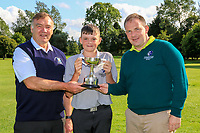 Martin Hynes (Connacht Golf) and Joe Burke (Captain Mountbellew GC) presents the Cup to Aodhagan Brady (Co.Sligo) winner of the U14's Final during the Connacht U12, U14, U16, U18 Close Finals 2019 in Mountbellew Golf Club, Mountbellew, Co. Galway on Monday 12th August 2019.<br /> <br /> Picture:  Thos Caffrey / www.golffile.ie<br /> <br /> All photos usage must carry mandatory copyright credit (© Golffile | Thos Caffrey)