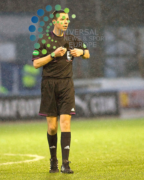 Kevin Clancy referee during the Greenock Morton V Raith Rovers  Irn Bru Scottish First Division Match 2012-2013 at Cappielow Park, Greenock  .Picture: Campbell Skinner/Universal News And Sport (Scotland) 26th January 2013..