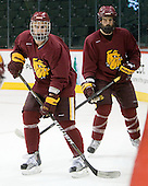 Scott Kishel (Duluth - 6), Brady Lamb (Duluth - 2) - The University of Minnesota-Duluth Bulldogs practiced on Wednesday, April 6, 2011 during the 2011 Frozen Four at the Xcel Energy Center in St. Paul, Minnesota.