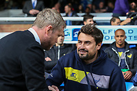 Pep Clotet (Manager) of Oxford United (right) shakes hands with Grant McCann (Manager) of Peterborough United (left) ahead of the Sky Bet League 1 match between Peterborough and Oxford United at the ABAX Stadium, London Road, Peterborough, England on 30 September 2017. Photo by David Horn.