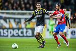 Solna 2013-09-30 Fotboll Allsvenskan AIK - &Ouml;sters IF :  <br /> AIK 10 Celso Borges i kamp om bollen med &Ouml;ster 8 Denis Velic <br /> (Foto: Kenta J&ouml;nsson) Nyckelord: