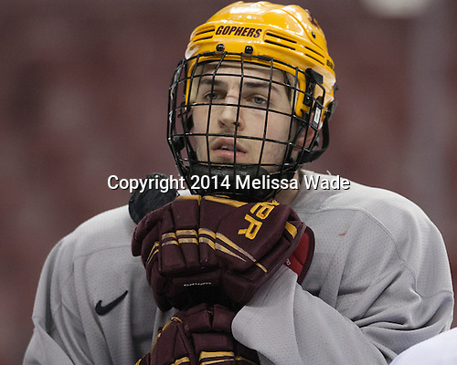 Christian Isackson (MN - 26) - The University of Minnesota Golden Gophers took part in a press conference and practice on Friday, April 11, 2014, during the 2014 Frozen Four at the Wells Fargo Center in Philadelphia, Pennsylvania.