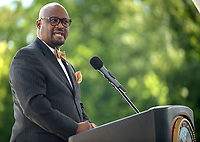 NWA Democrat-Gazette/ANDY SHUPE<br /> Kelvin Parks, interim medical center director at Veterans Health Care System of the Ozarks in Fayetteville, speaks Tuesday, Sept. 11, 2018, during a dedication ceremony for the Leroy Pond Residential Treatment Facility on the Fayetteville campus. The facility offers 20 beds 20-beds and inpatient care for veterans who are facing substance abuse and co-occurring mental illness and homelessness.