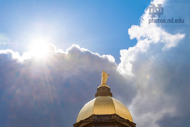 April 10, 2018; Dome and clouds (Photo by Matt Cashore/University of Notre Dame)