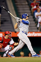 Eric Hosmer #35 of the Kansas City Royals bats against the Los Angeles Angels at Angel Stadium on May 14, 2013 in Anaheim, California. (Larry Goren/Four Seam Images)