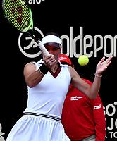 BOGOTÁ-COLOMBIA, 09-04-2019: Bibiane Schoofs de Paises Bajos, devuelve la bola a Emiliana Arango de Colombia, durante partido por el Claro Colsanitas WTA, que se realiza en el Carmel Club en la ciudad de Bogotá. / Bibiane Schoofs from Netherlans, returns the ball to Emiliana Arango from Colombia, during a match for the WTA Claro Colsanitas, which takes place at Carmel Club in Bogota city. / Photo: VizzorImage / Luis Ramírez / Staff.
