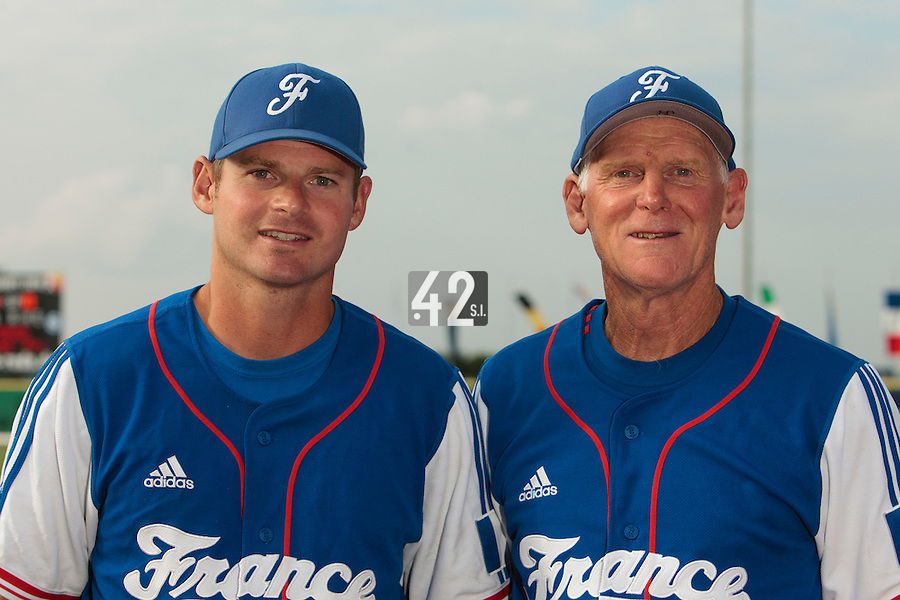 27 july 2010: Pitching coach Jeff Zeilstra and coach John Haar pose prior to Germany 10-9 victory over France, in day 5 of the 2010 European Championship Seniors, in Stuttgart, Germany.