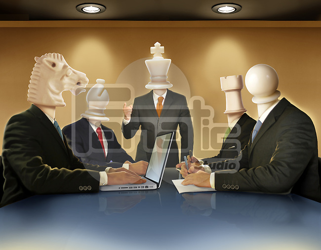 Illustrative image of businesspeople in meeting representing business strategy