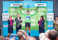 Picture by SWpix.com - 03/05/2018 - Cycling - 2018 Tour de Yorkshire - Stage 1: Beverley to Doncaster - Harry  Tanfield of Canyon Eisberg celebrates in The Sprinters Jersey