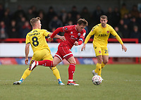 Crawley Town's Dannie Bulman and Fleetwood Town's Kyle Dempsey<br /> <br /> Photographer Rob Newell/CameraSport<br /> <br /> Emirates FA Cup Second Round - Crawley Town v Fleetwood Town - Sunday 1st December 2019 - Broadfield Stadium - Crawley<br />  <br /> World Copyright © 2019 CameraSport. All rights reserved. 43 Linden Ave. Countesthorpe. Leicester. England. LE8 5PG - Tel: +44 (0) 116 277 4147 - admin@camerasport.com - www.camerasport.com