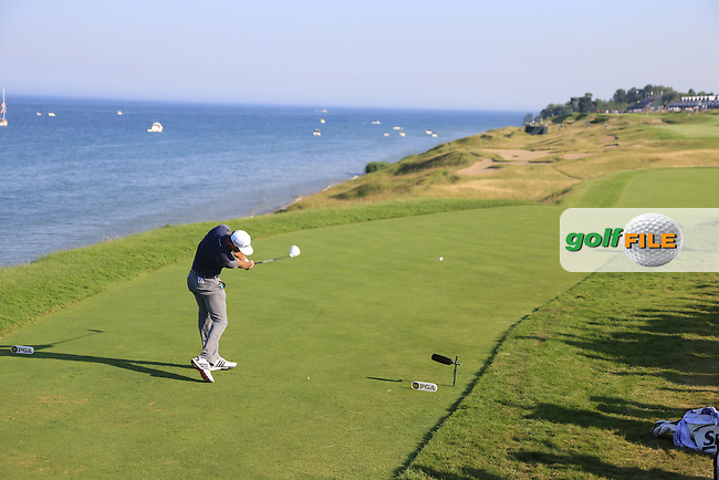 Dustin JOHNSON (USA) tees off the 16th tee during Saturday's Round 3 of the 97th US PGA Championship 2015 held at Whistling Straits, Mosel, Kohler, Wisconsin, United States of America. 15/08/2015.<br /> Picture Eoin Clarke, www.golffile.ie