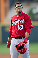 Memphis Redbirds outfielder Oscar Taveras #15 during the Pacific Coast League baseball game against the Round Rock Express on April 24, 2014 at the Dell Diamond in Round Rock, Texas. The Express defeated the Redbirds 6-2. (Andrew Woolley/Four Seam Images)