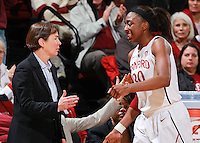 STANFORD, CA - January 21, 2012: Stanford Cardinal's Tara VanDerveer and Nnemkadi Ogwumike during Stanford's 65-47 victory over Washington at Maples Pavilion.