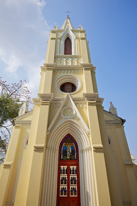 Our Lady Of Lourdes Church, Resplendent In New Colours Following A Facelift in 2010. Built In 1892, 14 Main Street, Shamian (Shameen) Island, Guangzhou (Canton).