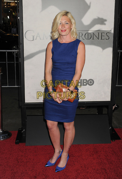 "Kate Ashford.""Game Of Thrones"" 3rd Season Los Angeles Premiere held at the TCL Chinese Theatre, Hollywood, California, USA..March 18th, 2013.full length dress clutch bag brown blue sleeveless  .CAP/ROT/TM.©Tony Michaels/Roth Stock/Capital Pictures"