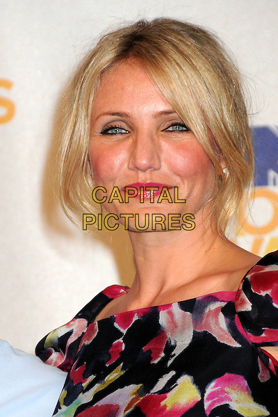 CAMERON DIAZ.MTV Movie Awards 2010 - Press Room held at the Gibson Amphitheatre, Universal City, California, USA..June 6th, 2010.headshot portrait black red pink print .CAP/ADM/BP.©Byron Purvis/AdMedia/Capital Pictures.