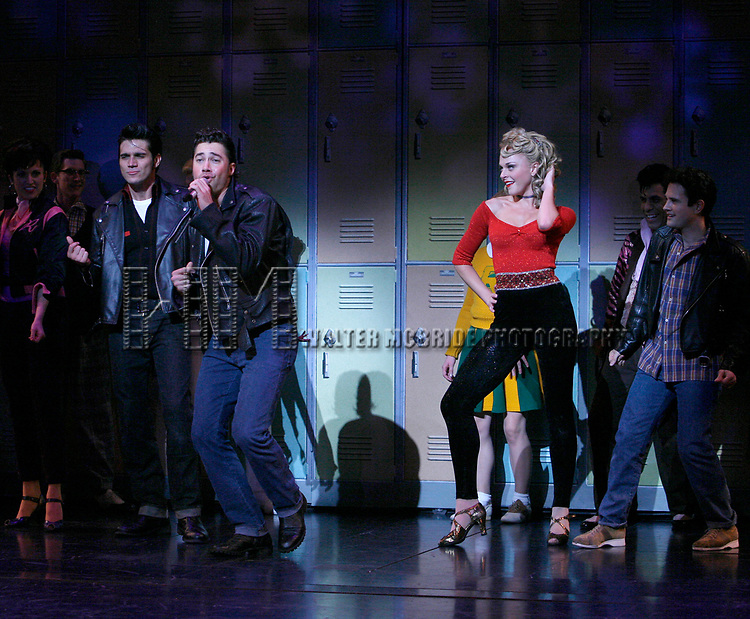 Ace Young, Derek Keeling & Ashley Spencer during bows for Olivia Newton-John is headed back to Rydell High to promote Breast Cancer Awareness after the Curtain Call for GREASE at the Brooks Atkinsoon Yheatre in New York City. <br />October 7, 2008