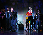 Ace Young, Derek Keeling & Ashley Spencer during bows for Olivia Newton-John is headed back to Rydell High to promote Breast Cancer Awareness after the Curtain Call for GREASE at the Brooks Atkinsoon Yheatre in New York City. <br />