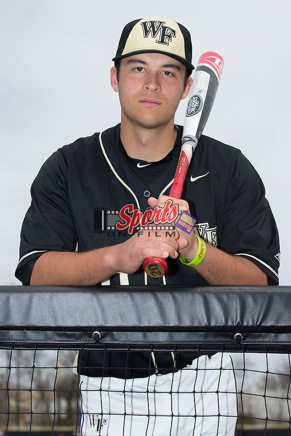 Justin Yurchak (20) of the Wake Forest Demon Deacons poses for a photo prior to the game against the Miami Hurricanes at Wake Forest Baseball Park on March 22, 2015 in Winston-Salem, North Carolina. (Brian Westerholt/Sports On Film)