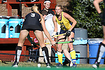 14 November 2015: Michigan's Mackenzie Ellis (13) and Wake Forest's Jess Newak (3). The Wake Forest University Demon Deacons played the University of Michigan Wolverines at Francis E. Henry Stadium in Chapel Hill, North Carolina in a 2015 NCAA Division I Field Hockey Tournament First Round match. Michigan won the game 2-1.
