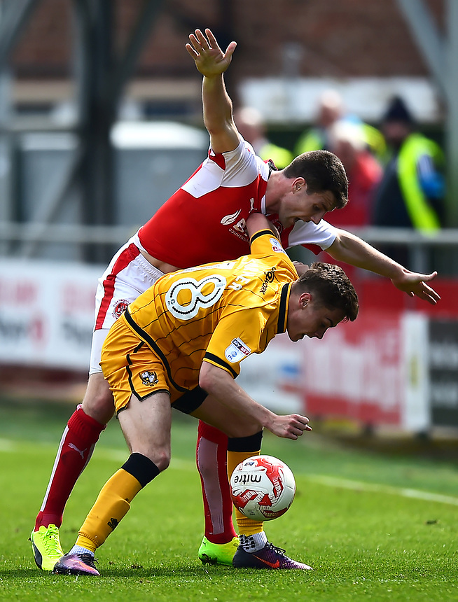 Port Vale's Dan Turner battles with Fleetwood Town's Bobby Grant<br /> <br /> Photographer Richard Martin-Roberts/CameraSport<br /> <br /> The EFL Sky Bet League One - Fleetwood Town v Port Vale - Sunday 30th April 2017 - Highbury Stadium - Fleetwood<br /> <br /> World Copyright &copy; 2017 CameraSport. All rights reserved. 43 Linden Ave. Countesthorpe. Leicester. England. LE8 5PG - Tel: +44 (0) 116 277 4147 - admin@camerasport.com - www.camerasport.com