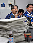 April 21, 2011, Tokyo, Japan - Spokesperson Junich Matsumoto of Tokyo Electric Power Co. briefs the media on radioactive contaminated water leaked into the sea from the Unit 2 of the crippled nuclear power plant in Fukushima during a news conference at its head office in Tokyo on Thursday, April 21, 2011. Matsumoto said highly contaminated water, estimated at about 520 tons, was discharged into the sea through a crack in a maintenance pit of the plant located along the Pacific coast some 200km northeast of Tokyo. Matsumoto also estimated the impact of the leakage would approximate 4,700 tera becquerel. (Photo by Natsuki Sakai/AFLO) [3615] -mis-