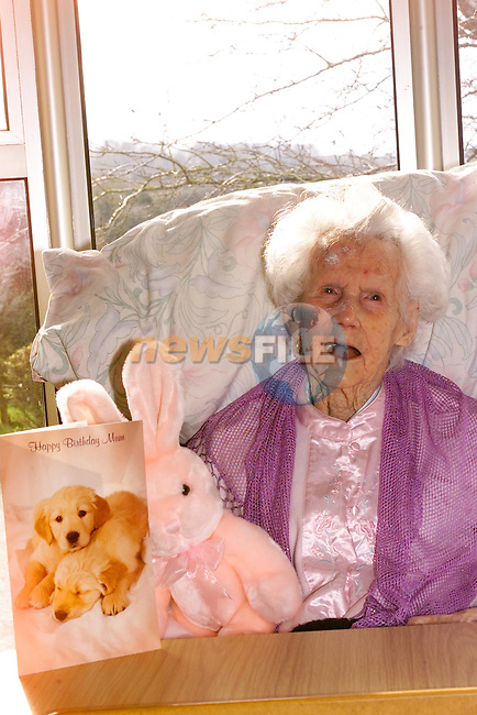Ann Cummins who celebrated her 102 birthday today ..Picture Fran Caffrey Newsfile.
