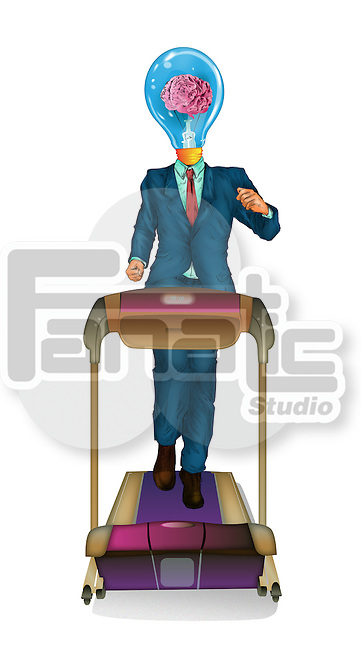 Illustrative image of businessman with light bulb head running on treadmill over white background