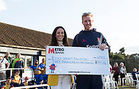 Simon Harmer is presented with a cheque in favour of the Essex Cricket Foundation during Upminster CC vs Essex CCC, Benefit Match Cricket at Upminster Park on 8th September 2019