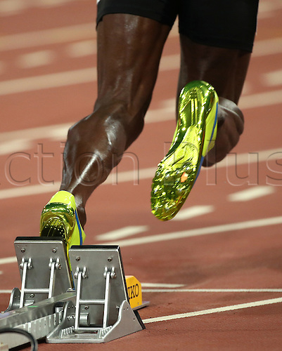 22.08,2015. Beijing, China.   Usain Bolt of Jamaica starts in the Men's 100 M Qualification at the 15th International Association of Athletics Federations (IAAF) Athletics World Championships at the National stadium, known as Bird's Nest, in Beijing, China, 22 August 2015.