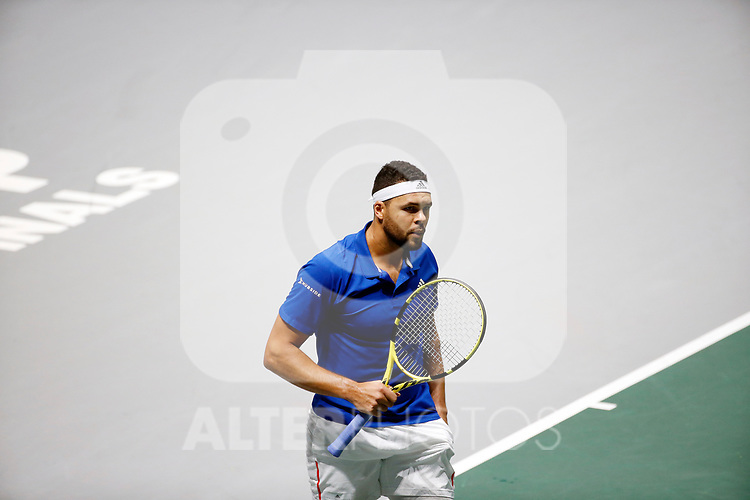 Jo-Wilfried Tsonga of France celebs his point against Jo-Wilfried Tsonga of France during Day 2 of the 2019 Davis Cup at La Caja Magica on November 19, 2019 in Madrid, Spain. (ALTERPHOTOS/Manu R.B.)