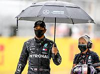 11th July 2020; Styria, Austria; FIA Formula One World Championship 2020, Grand Prix of Styria qualifying sessions;  44 Lewis Hamilton GBR, Mercedes-AMG Petronas Formula One Team, under an umbrella at Spielberg Austria
