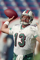 MIAMI, FL - DEC 19, 1999: Quarterback Dan Marino, #13, is shown on the filed as the  Miami Dolphins defeat the San Diego Chargers 12-9 at Joe Robbie Stadium, in Miami, FL. (Photo by Brian Cleary/www.bcpix.com)