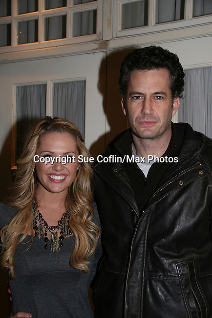 """All My Children's Natalie Hall """"Colby Chandler"""" and Michael Lowry """"Jake Martin"""" (thought to be Colby's father) at Marcia Tovsky's Holiday/Bon Voyage Party for AMC on December 1, 2009 at Nikki Midtown, New York City, New York. (Photo by Sue Coflin/Max Photos)"""