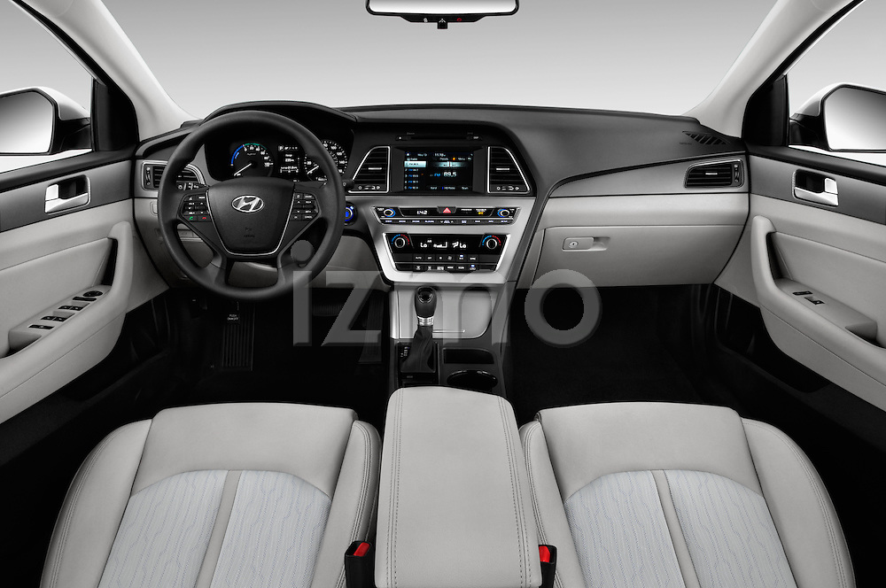 Stock photo of straight dashboard view of 2017 Hyundai Sonata-Hybrid Hybrid 4 Door Sedan Dashboard