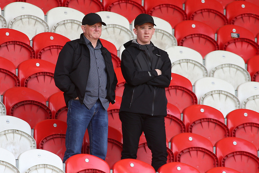 Fleetwood Town fans enjoy the atmosphere inside the Keepmoat stadium<br /> <br /> Photographer David Shipman/CameraSport<br /> <br /> The EFL Sky Bet League One - Doncaster Rovers v Fleetwood Town - Saturday 17th August 2019  - Keepmoat Stadium - Doncaster<br /> <br /> World Copyright © 2019 CameraSport. All rights reserved. 43 Linden Ave. Countesthorpe. Leicester. England. LE8 5PG - Tel: +44 (0) 116 277 4147 - admin@camerasport.com - www.camerasport.com
