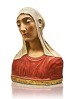 Painted stucco bust of a female possibly the Virgin of the Annonciation or Saint Catherine of Sienna. made in Florence around 1429- 1484 from Papiano, Palagio Fiorentino.  Inv  The Louvre Museum, Paris.