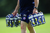 A general view of water bottles. Watter bottles Bath Rugby pre-season training session on August 9, 2016 at Farleigh House in Bath, England. Photo by: Patrick Khachfe / Onside Images