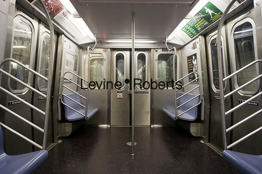 """An empty New York City Transit Authority subway car on the """"E"""" line, seen at its World Trade Center terminus on Tuesday, October 9, 2012. (© Richard B. Levine)"""