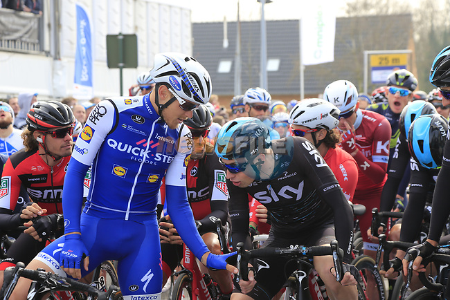 Matteo Trentin (ITA) Quick-Step Floors jokes on the start line of the 60th edition of the Record Bank E3 Harelbeke 2017, Flanders, Belgium. 24th March 2017.<br /> Picture: Eoin Clarke | Cyclefile<br /> <br /> <br /> All photos usage must carry mandatory copyright credit (&copy; Cyclefile | Eoin Clarke)