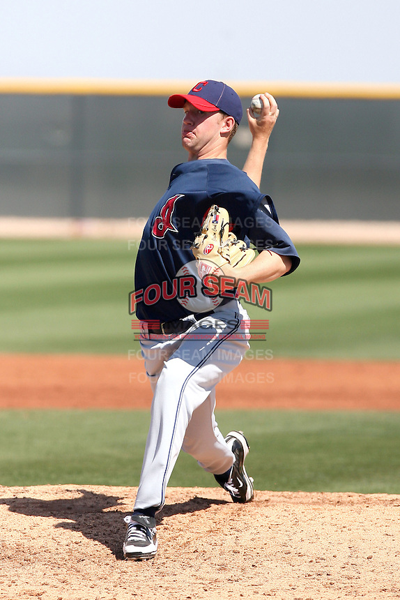 Clayton Cook #37 of the Cleveland Indians plays in a minor league spring training game against the Cincinnati Reds on March 27, 2011  in Goodyear, Arizona. .Photo by:  Bill Mitchell/Four Seam Images.